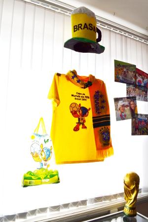 Экспозиция, посвященная чемпионату в Бразилии, в музее спорта ТГУ в Тамбове